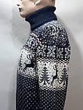 Шерстяной мужской свитер с оленями Rewac под горло Турецкий качественный гольф Темно-синий, фото 8