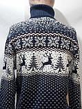 Шерстяной мужской свитер с оленями Rewac под горло Турецкий качественный гольф Темно-синий, фото 9