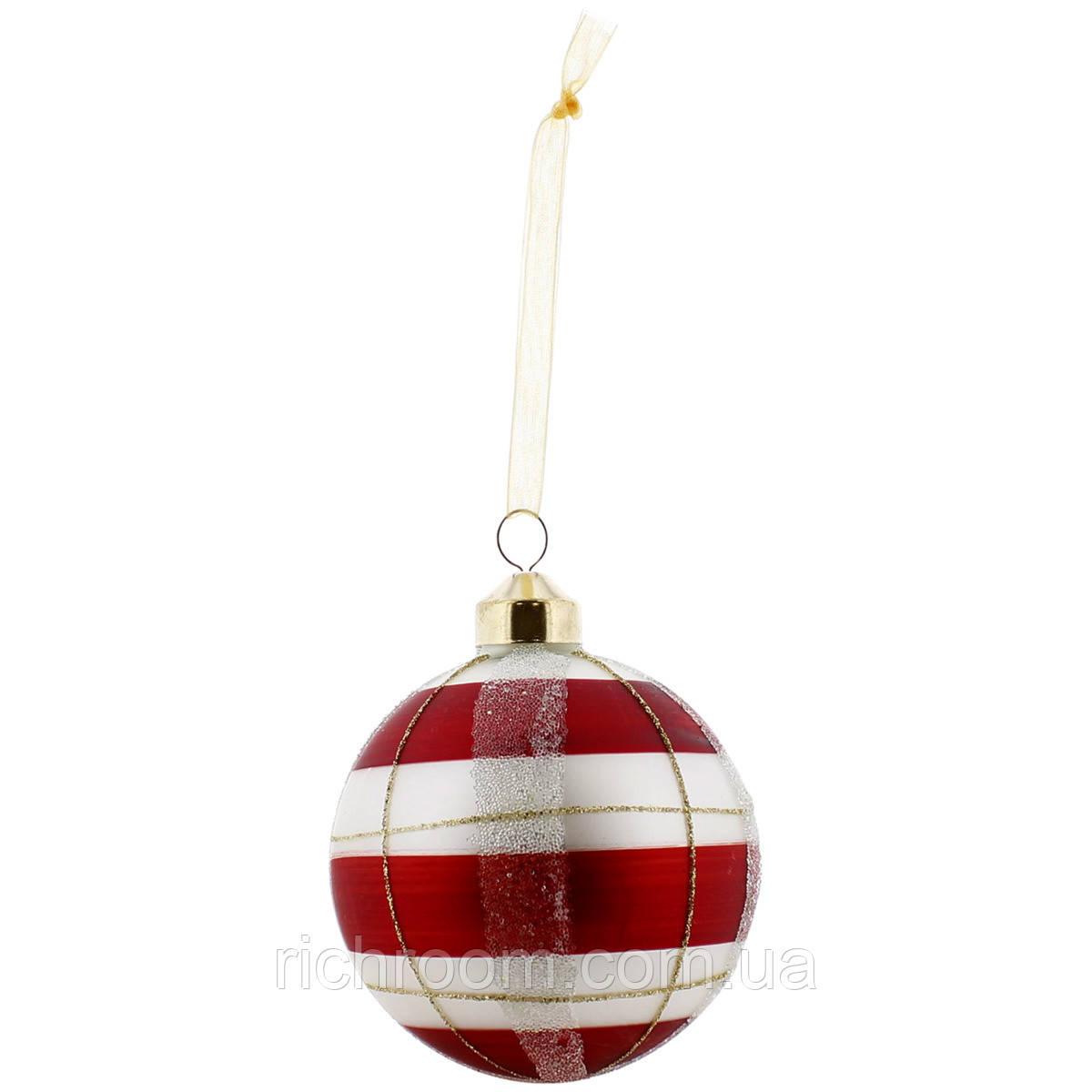 Новогодний стеклянный елочный шар в клетку KSD Ø 8 см