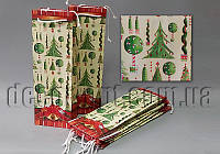 Подарочные картонные пакеты бутылочные 360х90х125мм/1шт