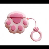Чехол Silicone case для Apple AirPods Розовая лапка + держатель на палец r12, КОД: 1916024