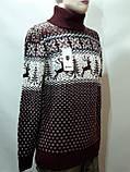 Новогодний мужской свитер с оленями Rewac под горло Турецкий качественный гольф Бордовый, фото 2