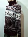 Новогодний мужской свитер с оленями Rewac под горло Турецкий качественный гольф Бордовый, фото 4