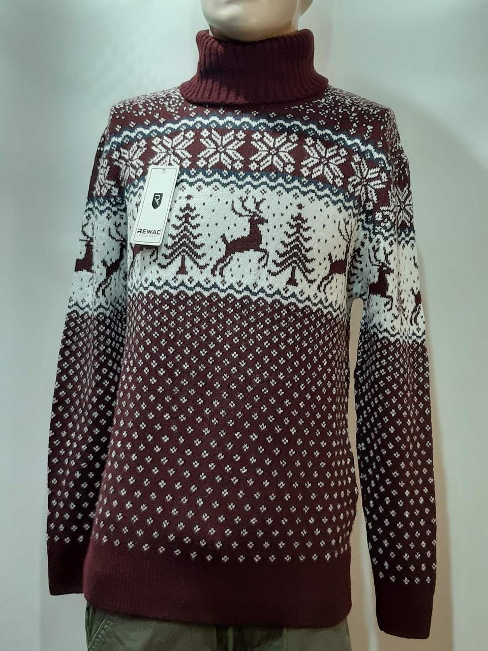 Новогодний мужской свитер с оленями Rewac под горло Турецкий качественный гольф Бордовый