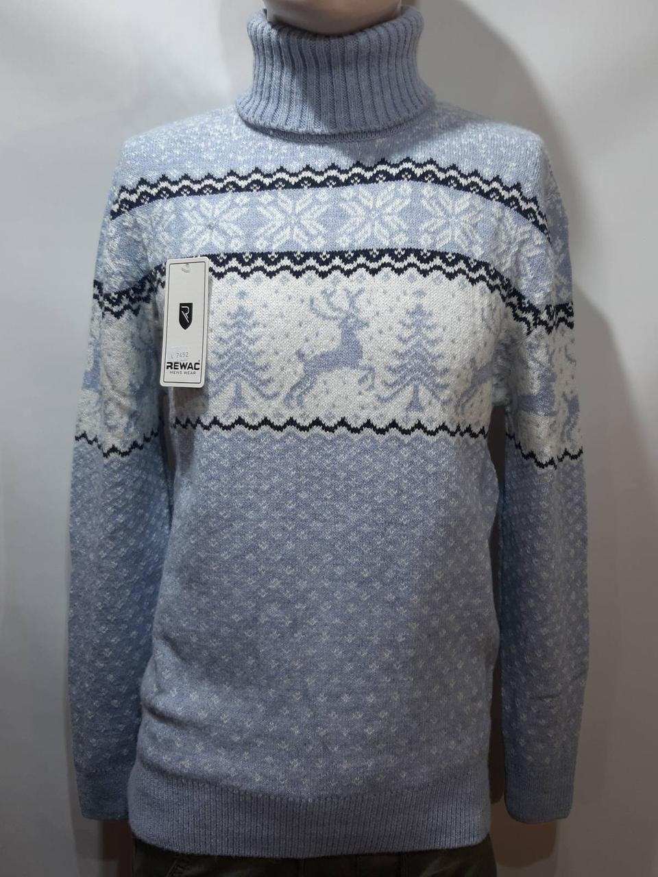 Мужской свитер с оленями новогодний Rewac под горло Турецкий качественный гольф Голубой
