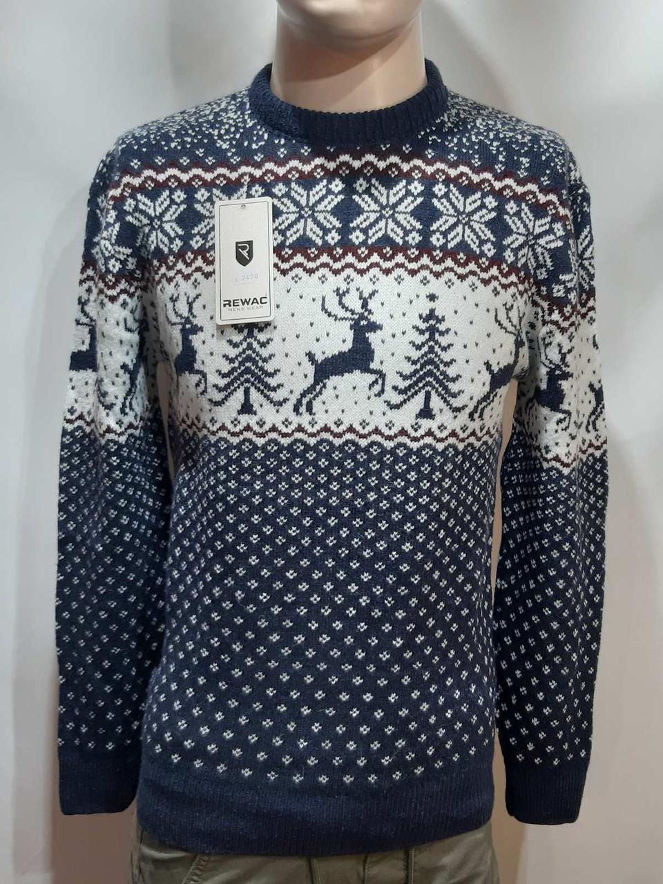 Мужской новогодний свитер с оленями Rewac Турция Синий