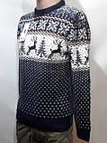 Мужской новогодний свитер с оленями Rewac Турция Синий, фото 4