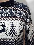 Мужской новогодний свитер с оленями Rewac Турция Синий, фото 5