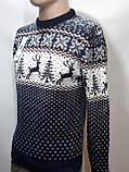 Мужской новогодний свитер с оленями Rewac Турция Синий, фото 6