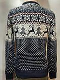 Мужской новогодний свитер с оленями Rewac Турция Синий, фото 8
