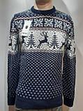 Мужской новогодний свитер с оленями Rewac Турция Синий, фото 9