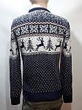 Мужской новогодний свитер с оленями Rewac Турция Синий, фото 10