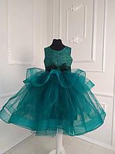 Зеленое детское пышное платье Ёлочка Барби-блеск