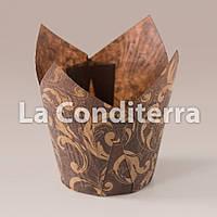 Бумажные формочки для маффинов Тюльпан с рисунком Узоры, коричневые (d=50 мм, высота бортика=50/75 мм), фото 1