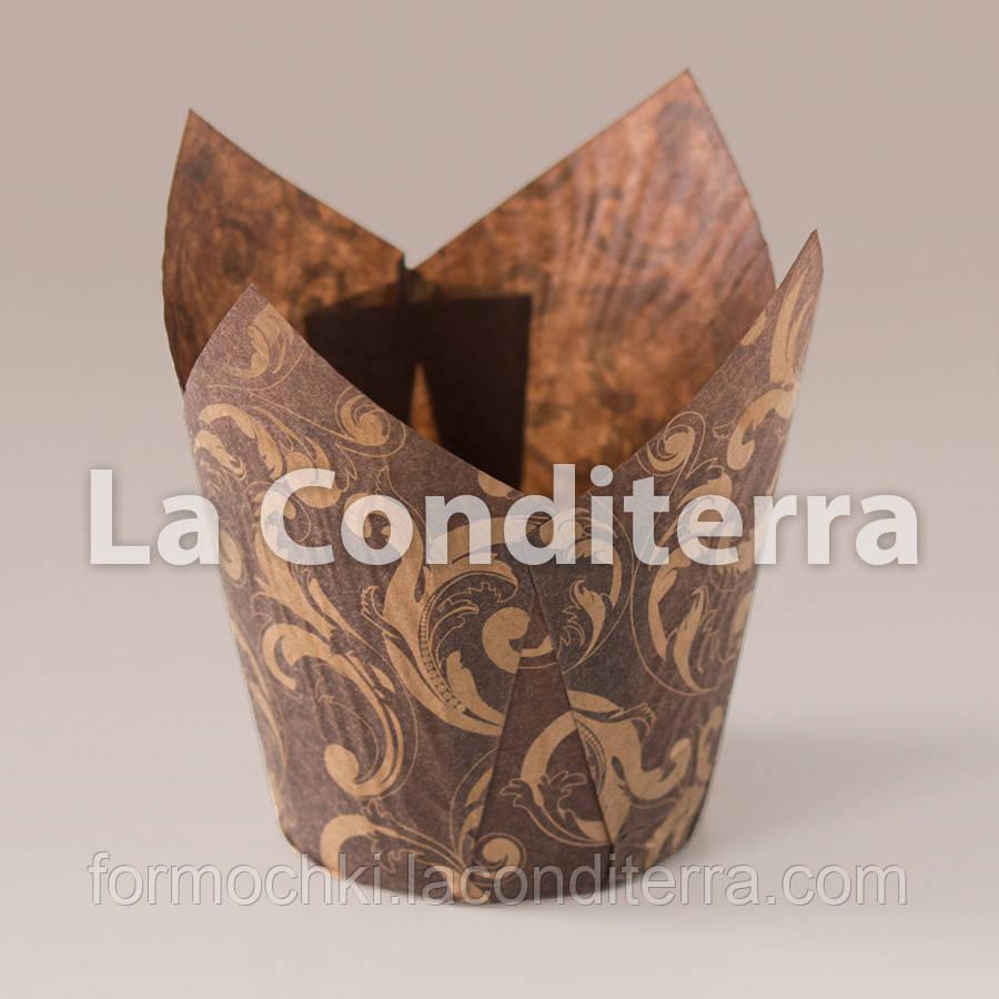 Бумажные формочки для маффинов Тюльпан с рисунком Узоры, коричневый (150 шт.,d=35 мм, высота бортика=35/50 мм), фото 1