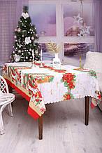 Скатерть Новогодняя 120-150 с Дедом морозом
