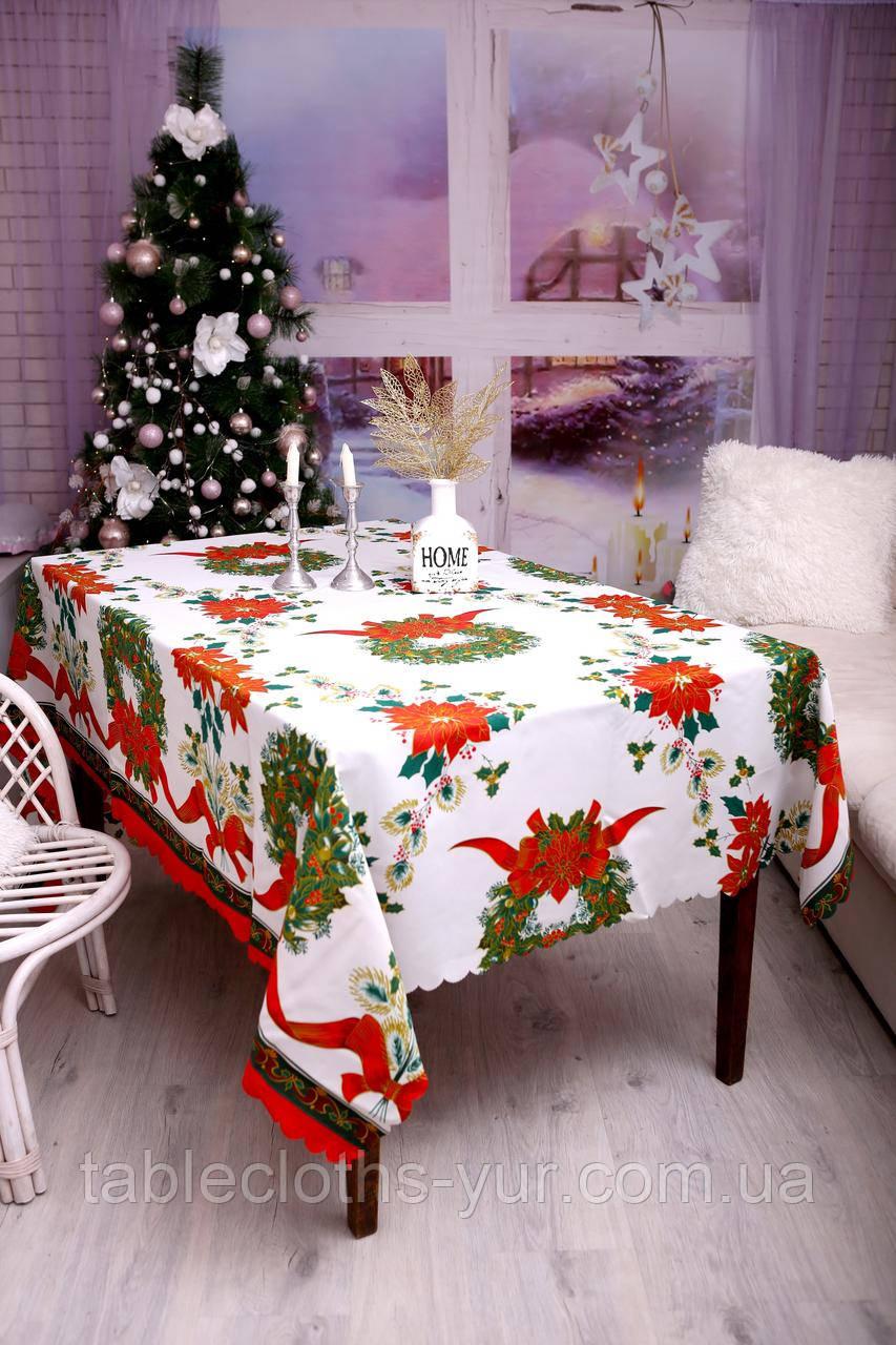 Скатертина Новорічна 120-150 «Christmas Wreath»