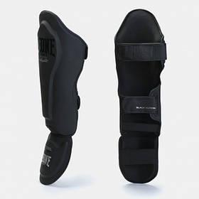 Захист гомілки й стопи для єдиноборств Leone Mono Black S/M чорні