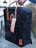 Модный рюкзак сумка женский, для девочки канкен Fjallraven Kanken classic 16 л. черный с коричневыми ручками, фото 2