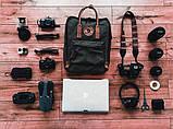 Модный рюкзак сумка женский, для девочки канкен Fjallraven Kanken classic 16 л. черный с коричневыми ручками, фото 9