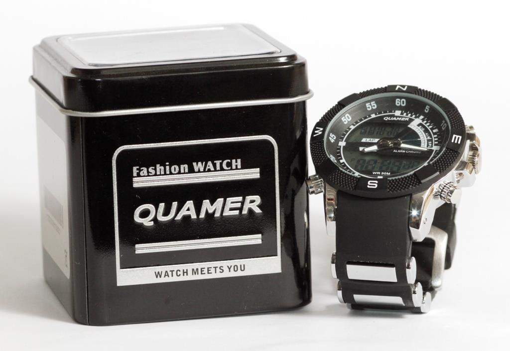 Наручные кварцевые часы QUAMER 1104 в коробке