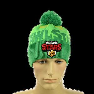 """Детская шапка """"Brawl Stars"""" Зеленая - шапка с бубоном"""