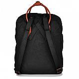 Женский рюкзак-сумка канкен черный 16 л. с коричневыми ручками Fjallraven Kanken classic No2, фото 4