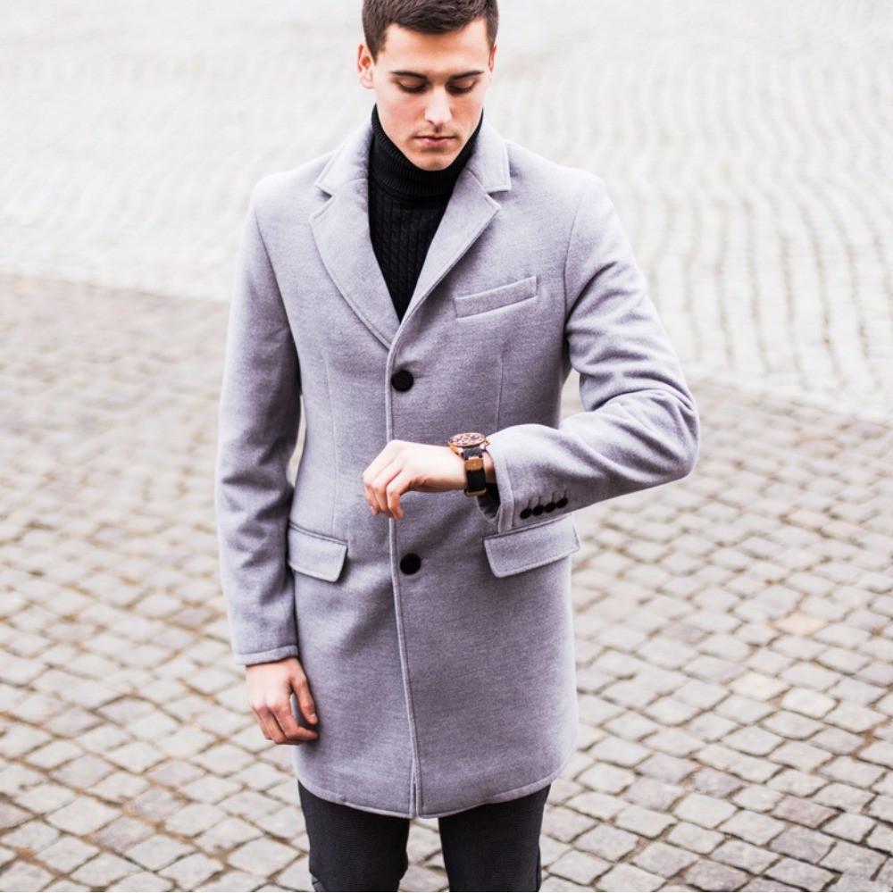 Стильное мужское пальто зимнее серое / Тёплое пальто мужское / Размер ХL