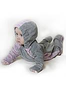 Слингокомбинезон велюровый (серый с розовым), велюровый комбинезон детский