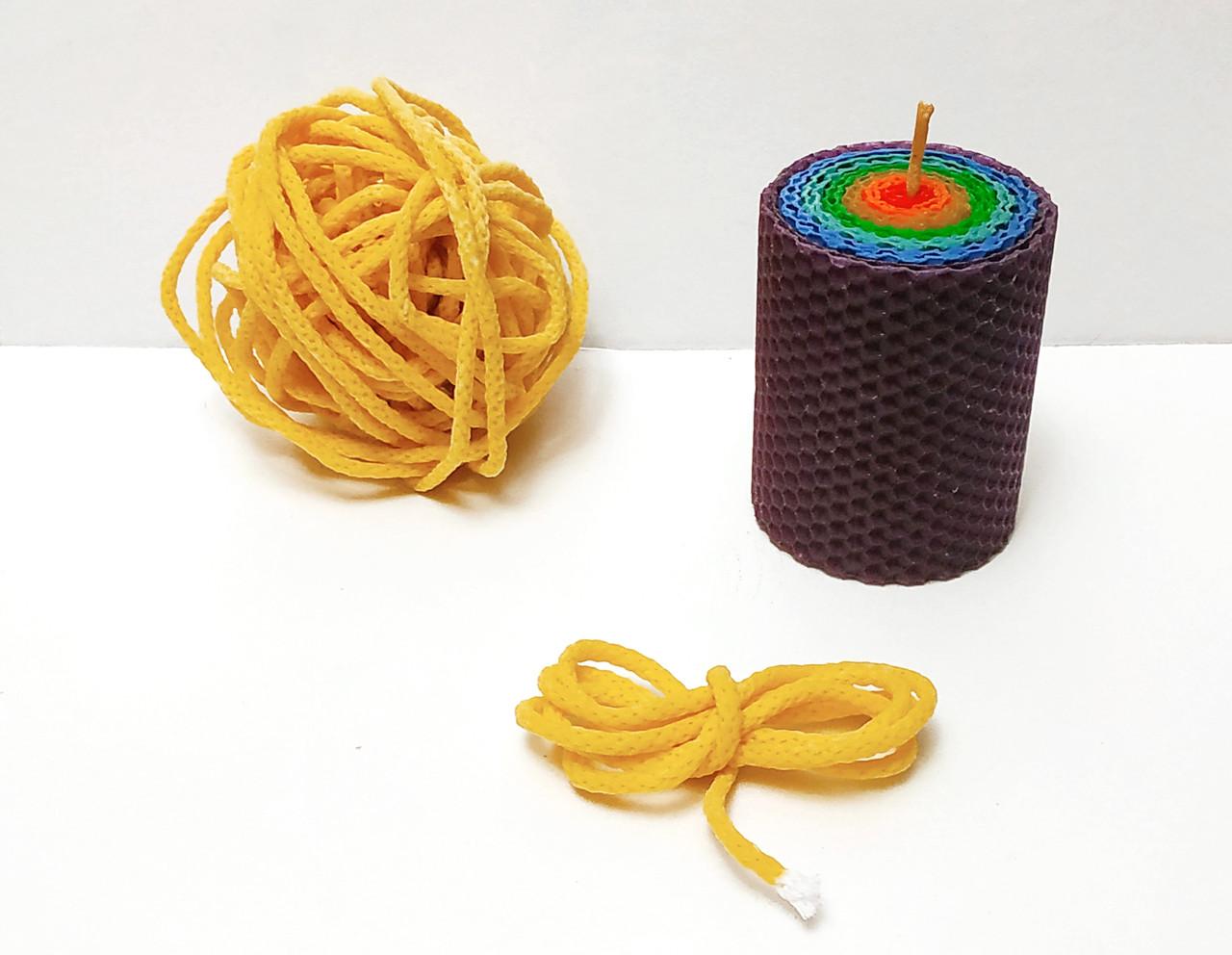 Фитиль вощеный свечной 5 мм плетеный для свечей из вощины цена за 1 метр