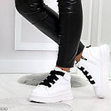 Модные белые женские кроссовки кеды криперы на черной шнуровке, фото 4