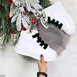 Модные белые женские кроссовки кеды криперы на черной шнуровке, фото 5