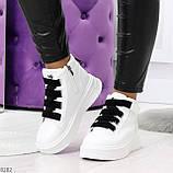 Модные белые женские кроссовки кеды криперы на черной шнуровке, фото 7