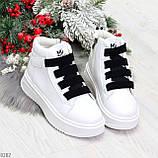 Модные белые женские кроссовки кеды криперы на черной шнуровке, фото 9