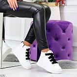 Модные белые женские кроссовки кеды криперы на черной шнуровке, фото 10