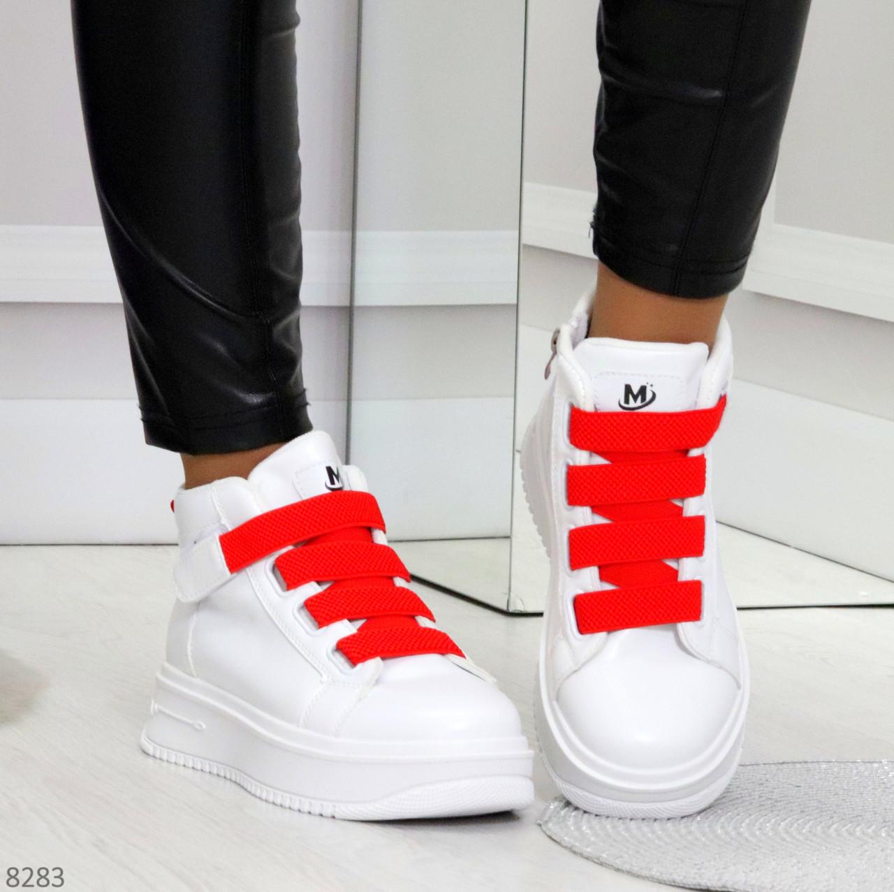 Модные белые женские кроссовки кеды криперы на красной шнуровке