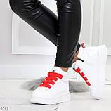 Модные белые женские кроссовки кеды криперы на красной шнуровке, фото 3