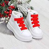 Модные белые женские кроссовки кеды криперы на красной шнуровке, фото 7
