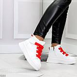 Модные белые женские кроссовки кеды криперы на красной шнуровке, фото 8