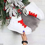 Модные белые женские кроссовки кеды криперы на красной шнуровке, фото 9