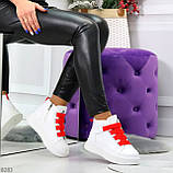 Модные белые женские кроссовки кеды криперы на красной шнуровке, фото 10