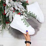 Модные белые женские кроссовки кеды криперы на оливковой шнуровке, фото 3
