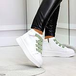 Модные белые женские кроссовки кеды криперы на оливковой шнуровке, фото 6