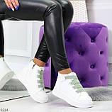 Модные белые женские кроссовки кеды криперы на оливковой шнуровке, фото 7