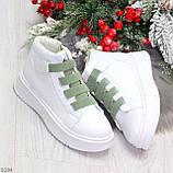 Модные белые женские кроссовки кеды криперы на оливковой шнуровке, фото 9