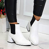 Роскошные светлые светлые молочные женские ботинки ботильоны на удобном каблуке, фото 3