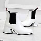 Роскошные светлые светлые молочные женские ботинки ботильоны на удобном каблуке, фото 4
