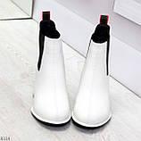 Роскошные светлые светлые молочные женские ботинки ботильоны на удобном каблуке, фото 5
