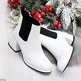 Роскошные светлые светлые молочные женские ботинки ботильоны на удобном каблуке, фото 7