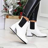 Роскошные светлые светлые молочные женские ботинки ботильоны на удобном каблуке, фото 8